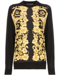 Versace - Baroque Print Cotton And Silk Jumper - Lyst