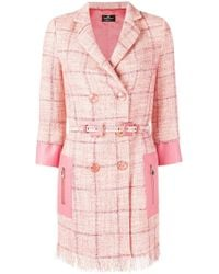 Elisabetta Franchi - Check Double-breasted Jacket - Lyst
