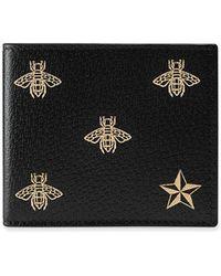 Gucci   Bee Star Leather Bi-fold Wallet   Lyst