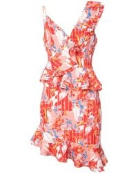 C/meo Collective - Floral Asymmetric Ruffle Dress - Lyst