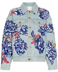 Ashish - Flower Embroidered Cotton Denim Jacket - Lyst