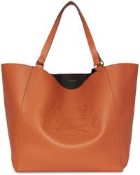 Burberry - Large Embossed Crest Bonded Leather Tote - Lyst