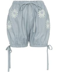 Innika Choo - Embroidered Daisy Bloomer Shorts - Lyst
