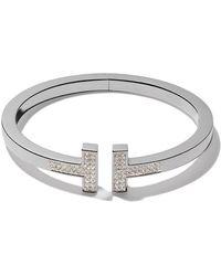 Tiffany & Co. - 18kt White Gold Tiffany T Square Diamond Cuff - Lyst