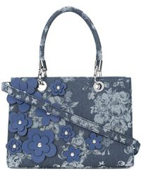 Christian Siriano - Floral Appliqué Denim Tote Bag - Lyst