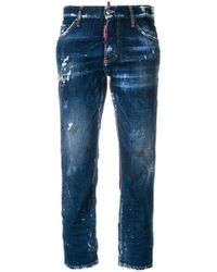 DSquared² - 'Hockney' Cropped-Jeans in Distressed-Optik - Lyst