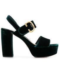 Prada - Two-Tone Velvet Sandals - Lyst
