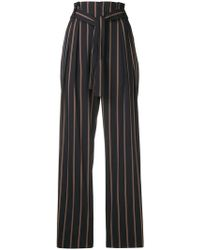 Vince - Striped Belted High Waist Trousers - Lyst