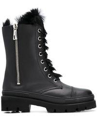 Baldinini - Fur Lined Combat Boots - Lyst