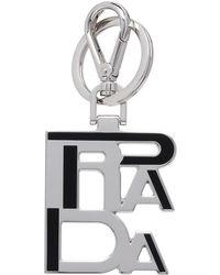 Prada - Metal Logo Keychain - Lyst