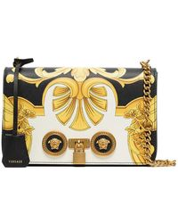 Versace - Black And Gold Barocco Ss'92 Print Leather Chain Strap Shoulder Bag - Lyst