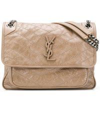 0fd8315cf17f Lyst - Saint Laurent Emmanuelle Medium Leather Bucket Bag in Natural