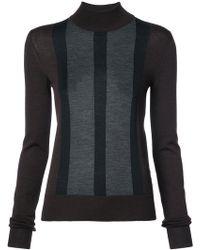 Vera Wang - Striped Detail Slim-fit Jumper - Lyst