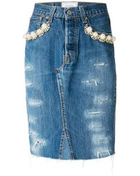 Forte Couture - Pearl Embellished Denim Skirt - Lyst