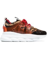 Versace Multicoloured Chain Reaction Leopard Print Leather Trainers