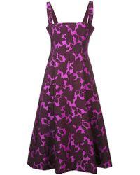 Lela Rose - Vestido midi con rosas texturizadas - Lyst