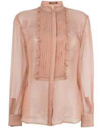 08cb0796449a93 Lyst - Roberto Cavalli Ruffle-trimmed Silk-georgette Blouse in Pink