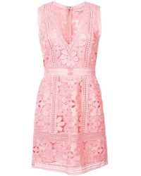 Alice + Olivia - Lace Embroidered Dress - Lyst