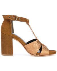 Strategia - T-bar Metallic Sandals - Lyst