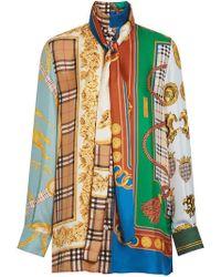 Burberry - Archive Scarf Print Silk Tie-neck Shirt - Lyst