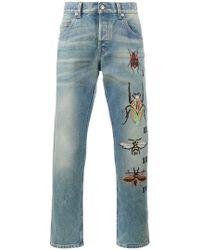 Gucci - Jeans con ricami - Lyst