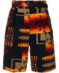 Sacai - X Pendleton Belted Geometric Print Corduroy Shorts - Lyst