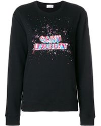 Saint Laurent - Sweatshirt mit Pailletten - Lyst