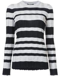 Derek Lam - Long Sleeve Striped Wide Rib Crewneck Pullover - Lyst