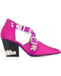 Toga Silver-tone Stud Court Shoes - Pink