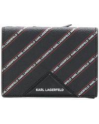 Karl Lagerfeld - Striped Logo Medium Wallet - Lyst