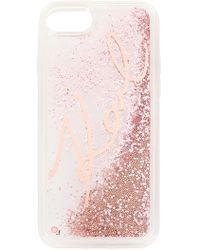 Karl Lagerfeld - Signature Glitter Iphone 7 Case - Lyst