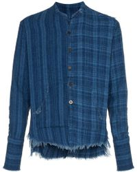 Greg Lauren - Checked And Pouch Detail Cotton Shirt - Lyst