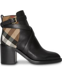ade889332ee Burberry - House Check And Leather Ankle Boots - Lyst