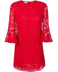 Valentino - Flared Sleeve Lace Dress - Lyst