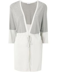Cruciani - Striped Tie Front Cardigan - Lyst