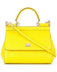Lyst - Dolce   Gabbana Rosalia Leather Shoulder Bag in Yellow d00842cfc5ab0
