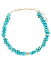 Jacquie Aiche - 14kt Yellow Gold Pave Diamond Disc Turquoise Bead Anklet - Lyst
