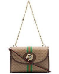 51c62df88f43a7 Gucci - Beige Rajah Supreme Mini GG Print Canvas Leather Trim Shoulder Bag  - Lyst