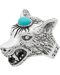 Gucci - Metallic Anger Forest Sterling Silver Wolf Head Ring - Lyst