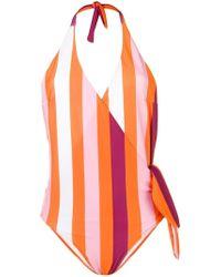 MSGM - Striped Halter Neck Swimsuit - Lyst