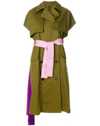 MSGM - Short-sleeve Belted Trench Coat - Lyst