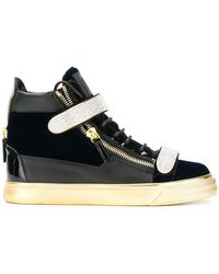 Giuseppe Zanotti - Embellished Touch-strap Trainers - Lyst