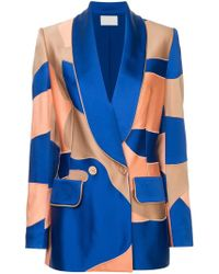 Peter Pilotto - Double-breasted Patchwork Satin Blazer - Lyst