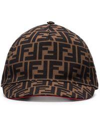 Fendi - Brown Ff Logo Cotton Baseball Cap - Lyst