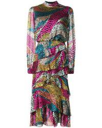 Saloni - Layered Ruffle Midi Dress - Lyst