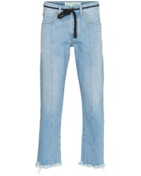 Off-White c/o Virgil Abloh - X Browns Diagonal Stripe Frayed Denim Jeans - Lyst