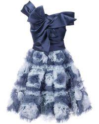 Marchesa notte - Vestido con falda de flores - Lyst