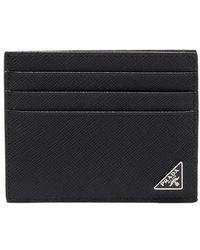 Prada - Leather Logo Cardholder - Lyst