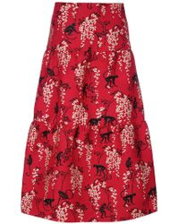 RED Valentino   Embroidered Flared Midi Skirt   Lyst