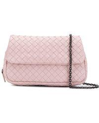 51935a6241 Bottega Veneta Intrecciato Nappa Messenger Mini Bag in Pink - Lyst